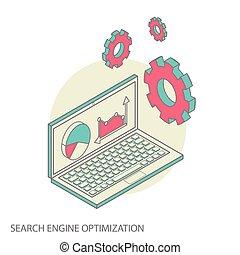 Isometric design modern concept of website analytics and SEO data analysis