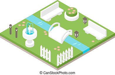 Isometric design nature park landscape illustration with forest, hills,rocks, waterfall, flowers and meadow vector.