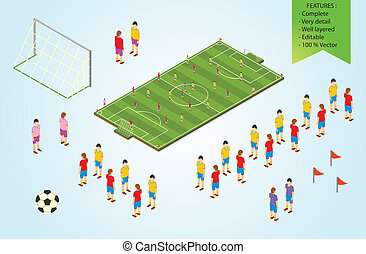 Isometric detail Football players in stadium