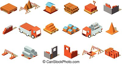 Isometric details of construction. Cargo cars, emergency barriers, materials for construction. Vector elements for building company or website