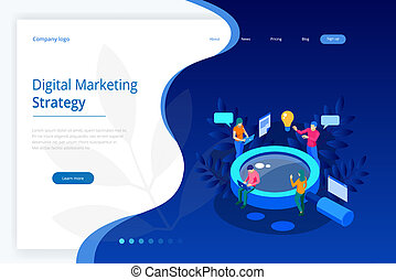Isometric Digital marketing strategy web banner concept. Analysis data cloud and Investment landing page. Media Technology.