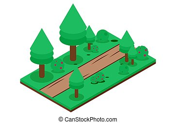 isometric dirt road in the forest, vector illustration