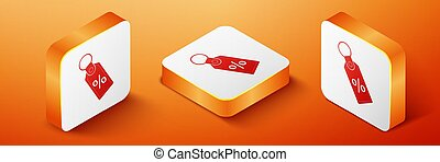 Isometric Discount percent tag icon isolated on orange background. Shopping tag sign. Special offer sign. Discount coupons symbol. Orange square button. Vector