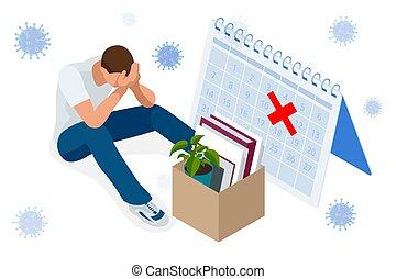 Isometric dismissal, severance, termination in case. Economic crisis caused by coronavirus. Unemployment, jobless and employee job reduction metaphor