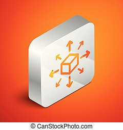 Isometric Distribution icon isolated on orange background. Content distribution concept. Silver square button. Vector Illustration