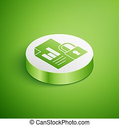 Isometric Document and lock icon isolated on green background. File format and padlock. Security, safety, protection concept. White circle button. Vector Illustration