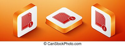 Isometric Document with download sign icon isolated on orange background. File document symbol. Orange square button. Vector