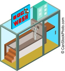 Isometric dog wash glass stand building