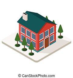 isometric, dom, zewnątrz, miasto