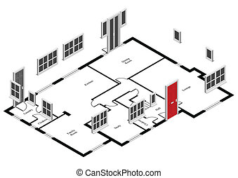house plan - Isometric doors and windows on house plan