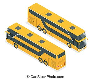 Isometric Double Decker Bus or intercity. Urban transport....