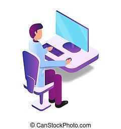 isometric, doutor, ilustração, computador, usando, macho