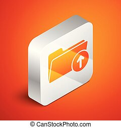 Isometric Download arrow with folder icon isolated on orange background. Silver square button. Vector Illustration