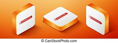 Isometric Download button with arrow icon isolated on orange background. Upload button. Load symbol. Orange square button. Vector