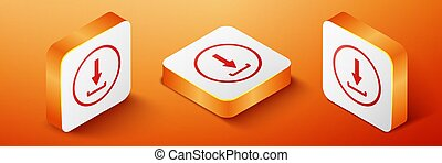 Isometric Download icon isolated on orange background. Upload button. Load symbol. Arrow point to down. Orange square button. Vector