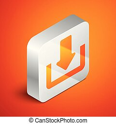 Isometric Download icon isolated on orange background. Upload button. Load symbol. Arrow point to down. Silver square button. Vector Illustration