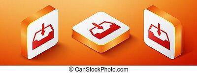 Isometric Download inbox icon isolated on orange background. Orange square button. Vector