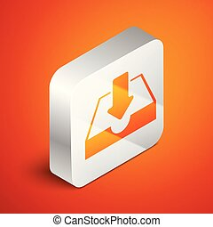 Isometric Download inbox icon isolated on orange background. Silver square button. Vector Illustration