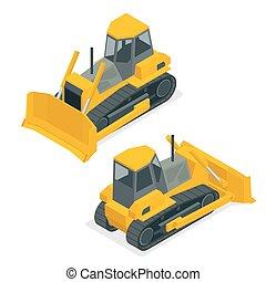 Isometric dozer or bulldozer. Set of the construction...