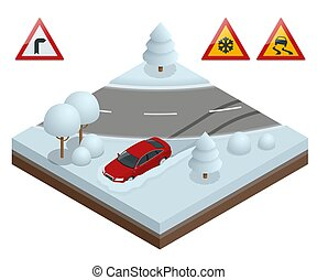 Isometric drift car on a snowy road concept. Heavy snow on the road driving on it becomes dangerous