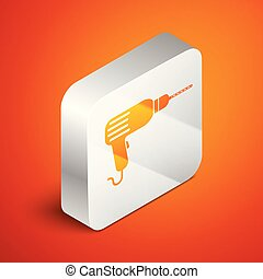 Isometric Drill machine icon isolated on orange background. Silver square button. Vector Illustration