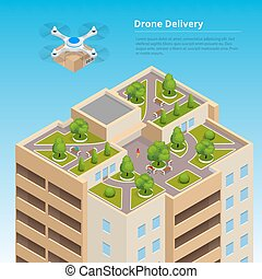 Isometric Drone Fast Delivery of goods in the city....