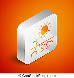 Isometric Drought icon isolated on orange background. Silver square button. Vector Illustration