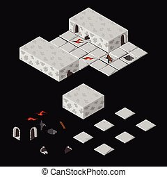 Isometric dungeon elements - Vector isometric dungeon...