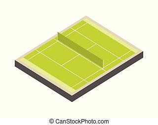 isometric, dziedziniec, tło., tenis, odizolowany, ilustracja, markup., pole, wektor, zielony, lawn., biały