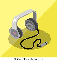 earphone - isometric earphone music saund icon dj audio