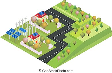 Isometric eco village, country with green environment and wind energy propeller.