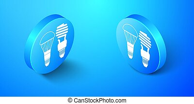 Isometric Economical LED illuminated lightbulb and fluorescent light bulb icon isolated on blue background. Save energy lamp. Blue circle button. Vector