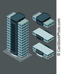 isometric, edifício moderno