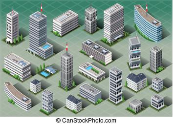 isometric, edifícios, europeu