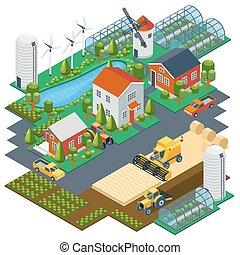 isometric, edifícios, fazenda, vila, ilustração, trator, scene., mill., combinar, vetorial, pickup, lagoa, armando