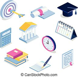 Isometric education icon set. 3d graduation vector illustration. Book, calendar, graduation cap, goal
