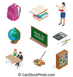 Isometric Educational Concept. Open book of knowledge, back to school, different educational supplies Can be used for workflow layout, banner, diagram, number options, web design and infographics.