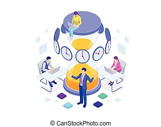Isometric Effective time management concept. Time...