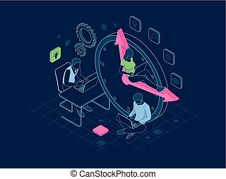 Isometric Effective time management in outline concept. Time...