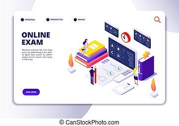 isometric, egzamin, ludzie, checklist, concept., zastosowanie, mistyfikacja, wektor, przegląd, lądowanie, online, kwestionariusz, strona, voting.