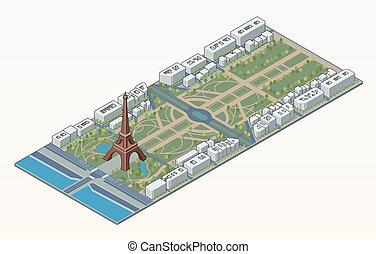 Isometric Eiffel tower and Champ de Mars