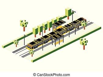 isometric, elétrico, bonde, train., isolado, estação, white., estrada ferro