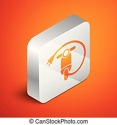 Isometric Electric scooter icon isolated on orange background. Silver square button. Vector Illustration