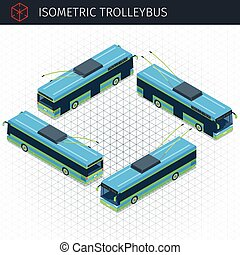 Isometric electric trolleybus. 3d vector transport icon. ...