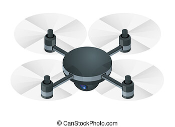 Isometric Electric wireless RC quadcopter drone with video and photo camera for aerial photography isolated on white background vector illustration