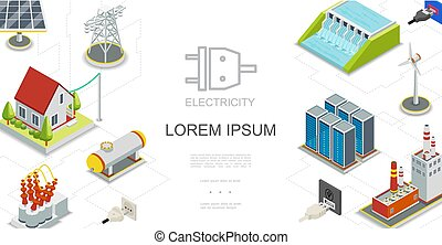 Isometric Electricity And Energy Concept
