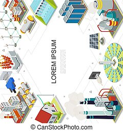 Isometric Electricity And Energy Template