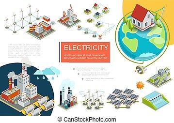 Isometric Electricity Infographics