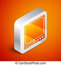 Isometric Electronic scales icon isolated on orange background. Weight measure equipment. Silver square button. Vector Illustration