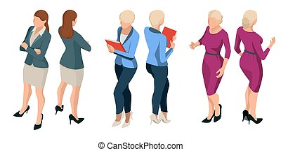 Isometric elegant business women in formal clothes Base wardrobe, feminine corporate dress code Vector illustration with isolated characters Trendy isometric People behind a front view of visas